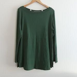 J. Jill Perfect Pima Shirttail Tunic Green Size L